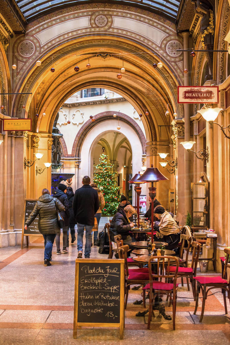 Cafe and shops in the Freyung Passage, Palais Ferstel, Herrengasse street, Innere Stadt, Vienna, Austria, Europe Royalty-free stock photo