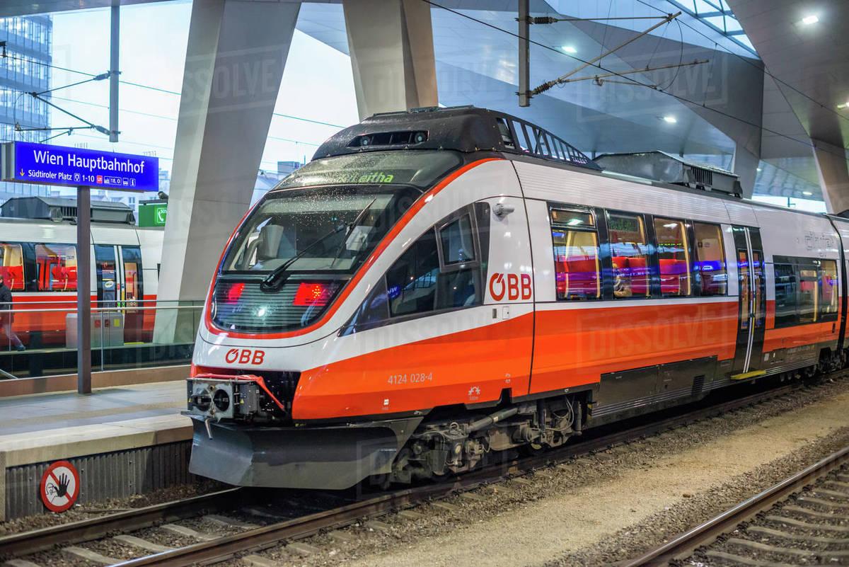 OBB Talent railcar train at Vienna Central station (Hauptbahnhof), Austria, Europe Royalty-free stock photo