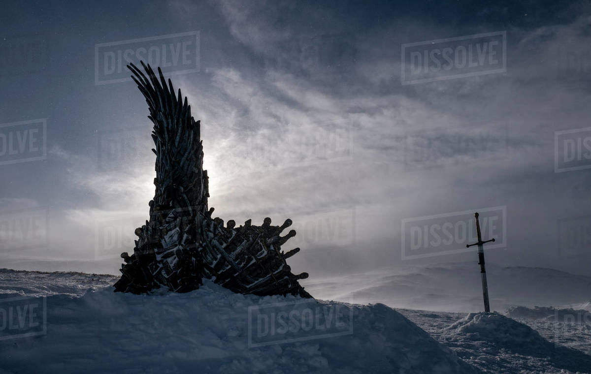 Throne of the North, hidden HBO throne from Game of Thrones, Sweden, Scandinavia, Europe Royalty-free stock photo