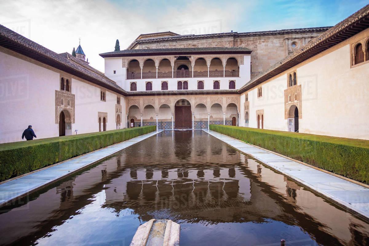 A court at the Moorish Nasrid Palace, Alhambra, UNESCO World Heritage Site, Granada, Andalucia, Spain, Europe Royalty-free stock photo
