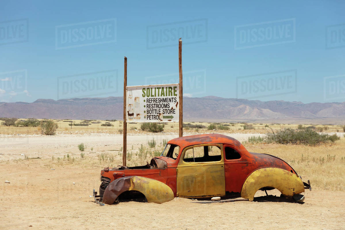 Solitaire is a cool town in the middle of Namibia, full of rusting cars, bikes and disused fuel pumps, Solitaire, Namibia, Africa Royalty-free stock photo