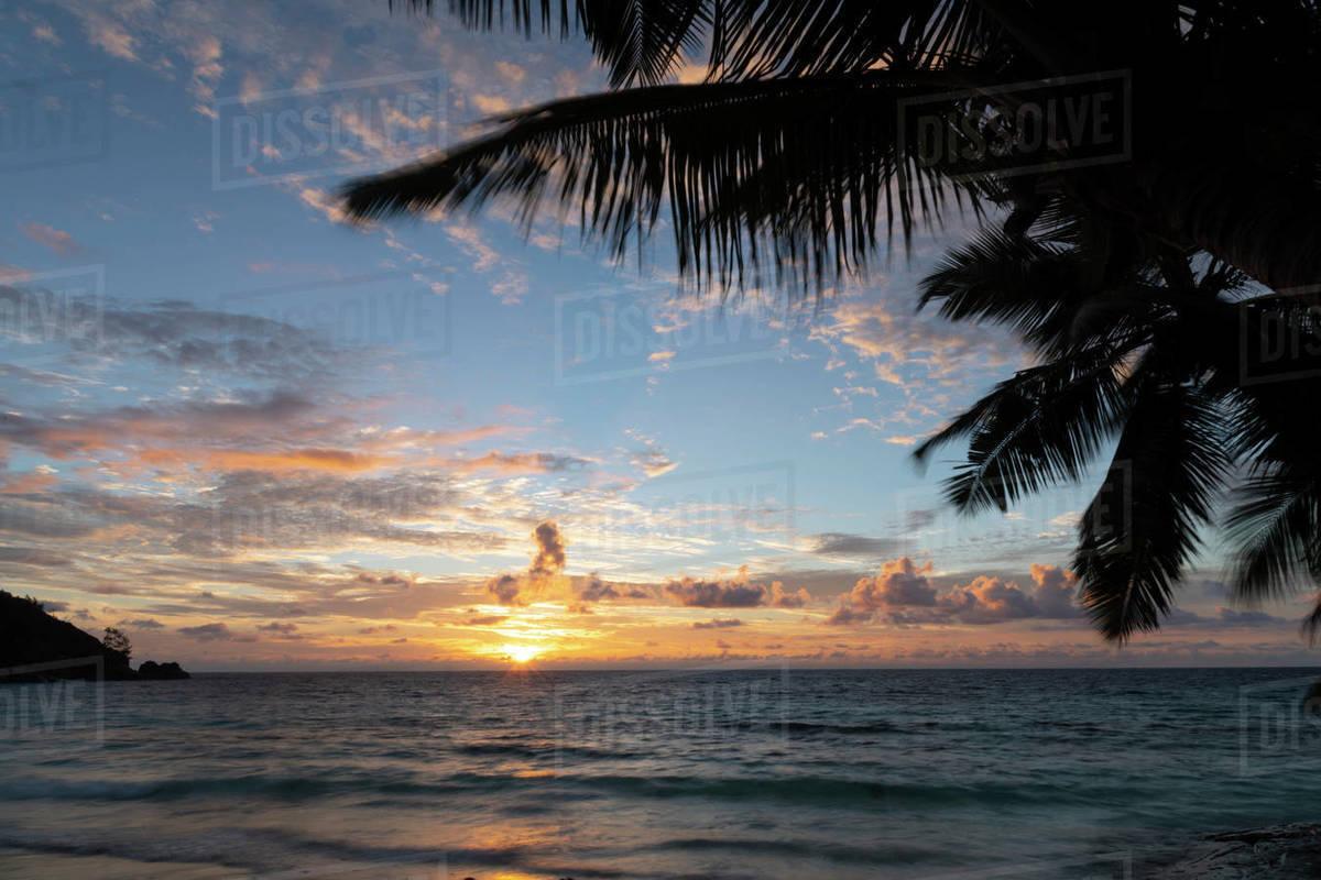 Sunset on Petit Anse, Mahe, Seychelles, Indian Ocean, Africa Royalty-free stock photo