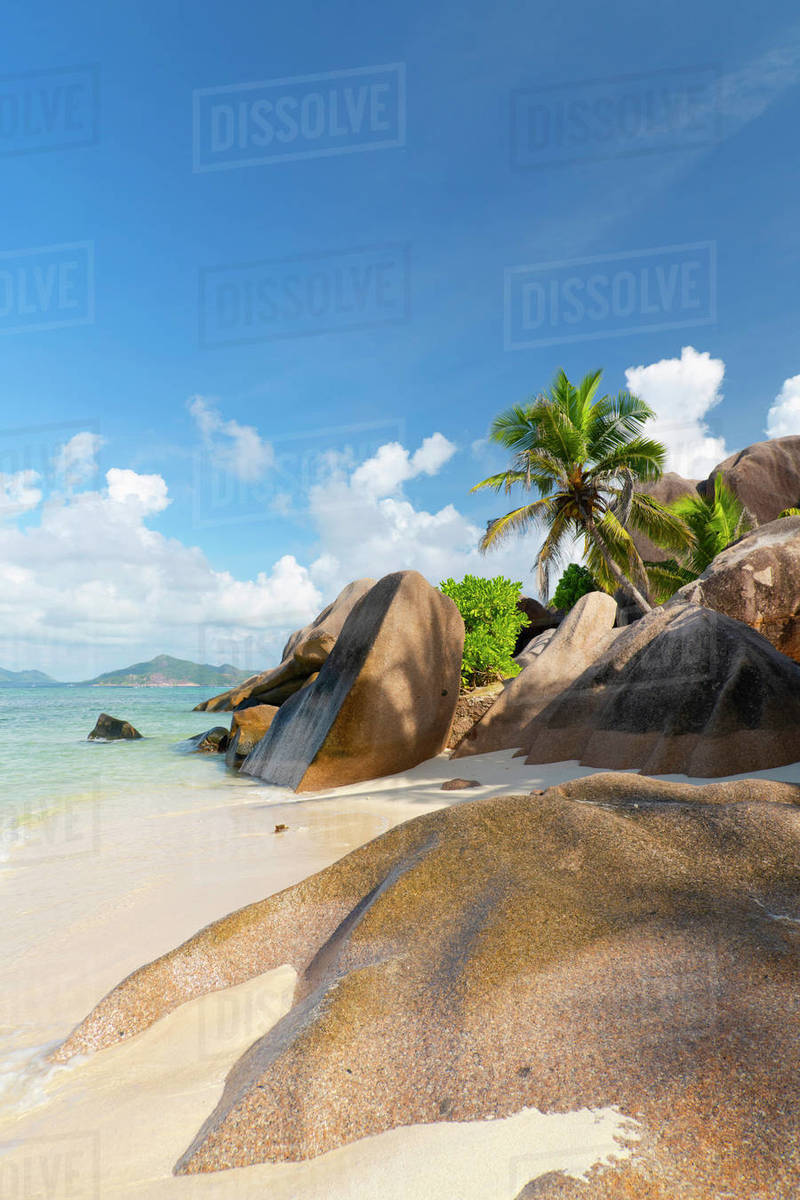 Distinctive limestone rock formations on Anse Source d'Argent, La Digue, Seychelles, Indian Ocean, Africa Royalty-free stock photo