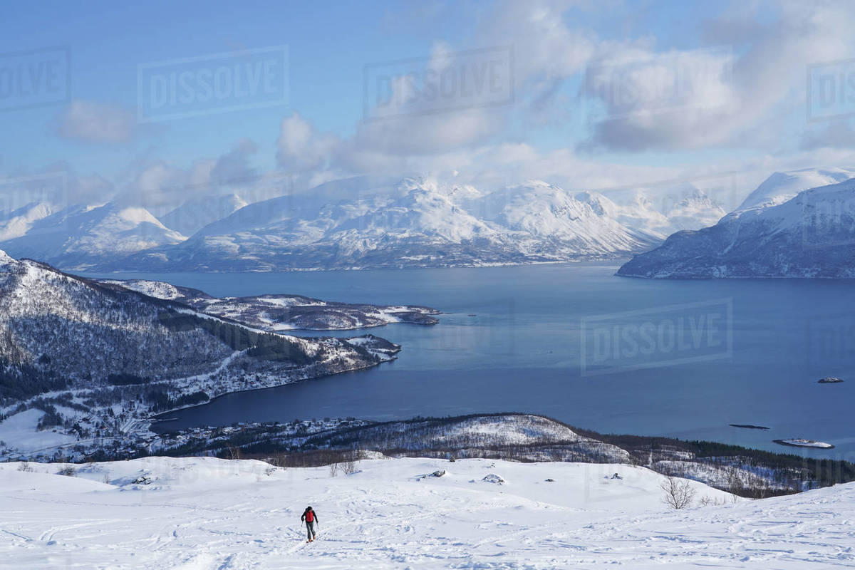 Ski touring in the Lyngen Alps, Lyngseidet, Lyngen peninsula, Troms County, Norway, Scandinavia, Europe Royalty-free stock photo
