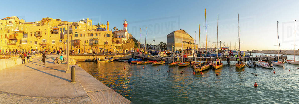 Panoramic view of Jaffa Old Town harbour at sunset, Tel Aviv, Israel, Middle East Royalty-free stock photo