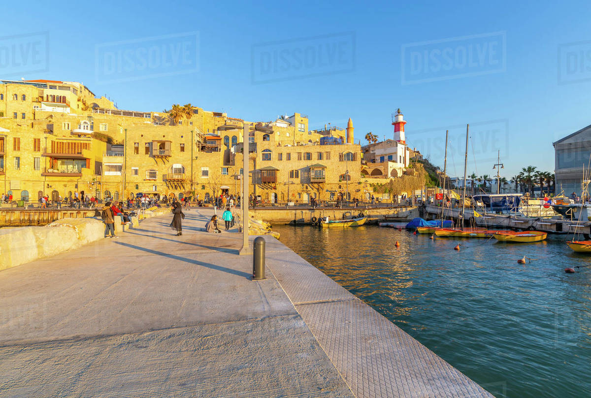 View of Jaffa Old Town harbour at sunset, Tel Aviv, Israel, Middle East Royalty-free stock photo