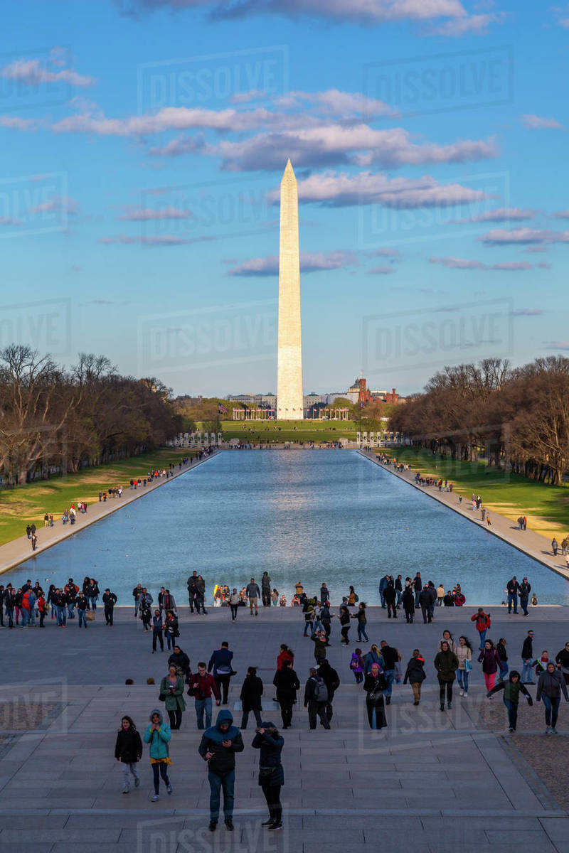 View of Lincoln Memorial Reflecting Pool and Washington Monument, Washington D.C., United States of America, North America Royalty-free stock photo