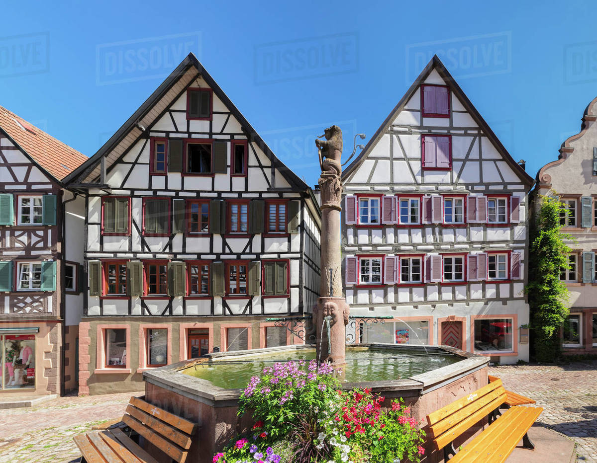Market Place, Schiltach, Black Forest, Kinzigtal Valley, Baden-Wurttemberg, Germany, Europe Royalty-free stock photo