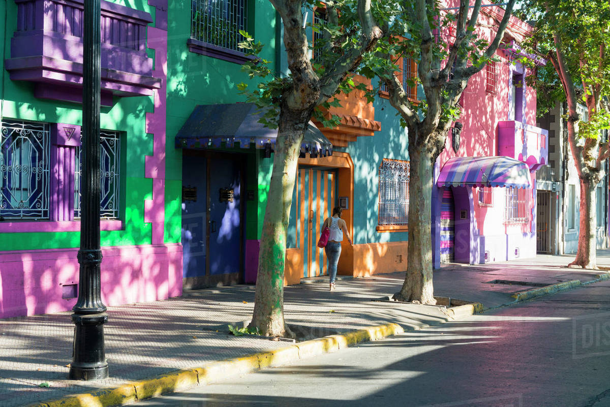 Colourful streets of Bellavista, Santiago, Chile, South America Royalty-free stock photo