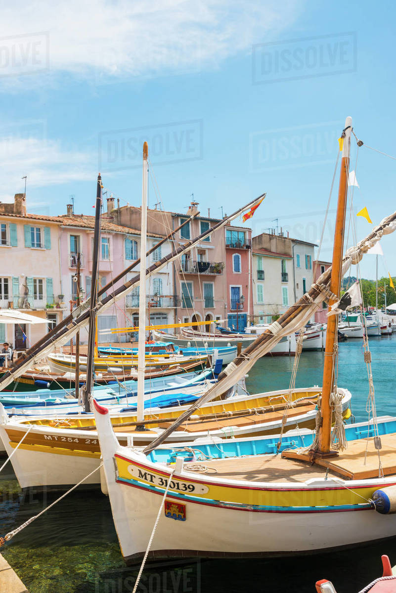 Boats in Martigues port, Bouches-du-Rhone, Provence, Provence-Alpes-Cote d'Azur, France, Europe Royalty-free stock photo