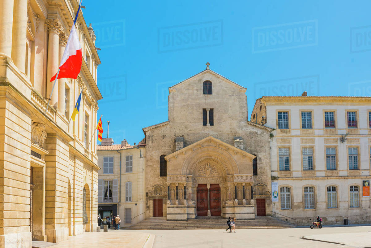 Arles main plaza and Church of St. Trophime, Arles, Bouches du Rhone, Provence, Provence-Alpes-Cote d'Azur, France, Europe Royalty-free stock photo