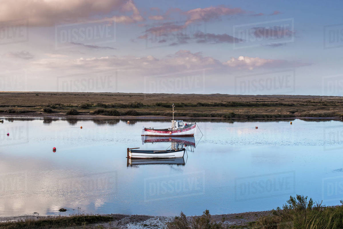 Views from Norfolk Coast path National Trail near Burnham Overy Staithe, Norfolk, East Anglia, England, United Kingdom, Europe Royalty-free stock photo