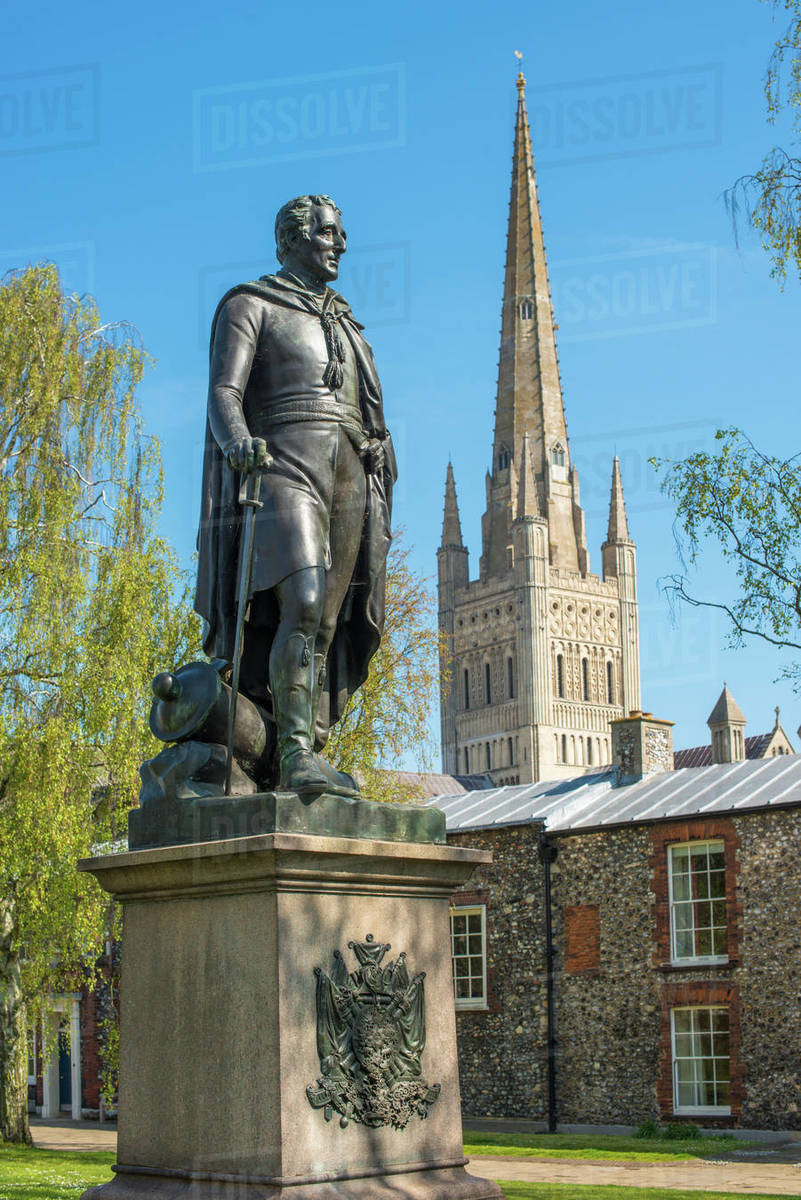 Statue of Wellington and the Spire of Norwich Cathedral, Norwich, Norfolk, East Anglia, England, United Kingdom, Europe Royalty-free stock photo