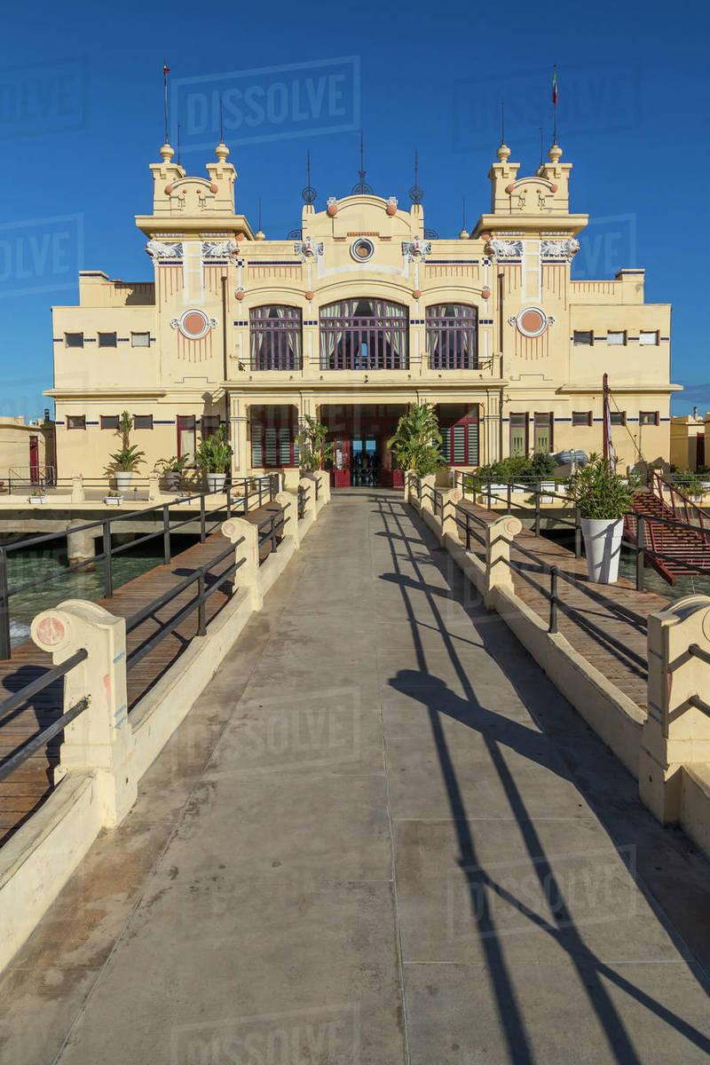 The Antico Stabilimento Balneare building (Charleston) at Mondello borough, Palermo, Sicily, Italy, Europe Royalty-free stock photo