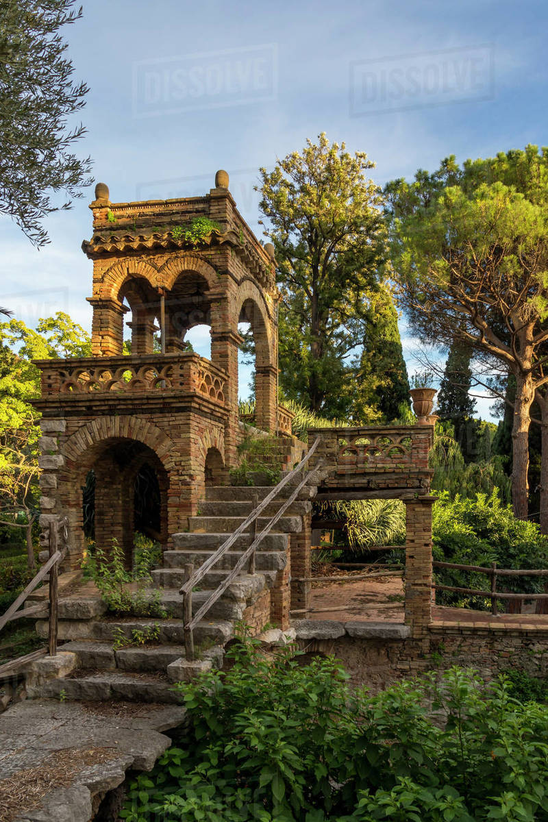One of the so called Victorian Follies inside the public garden, Parco Duca di Cesaro, Taormina, Sicily, Italy, Europe Royalty-free stock photo
