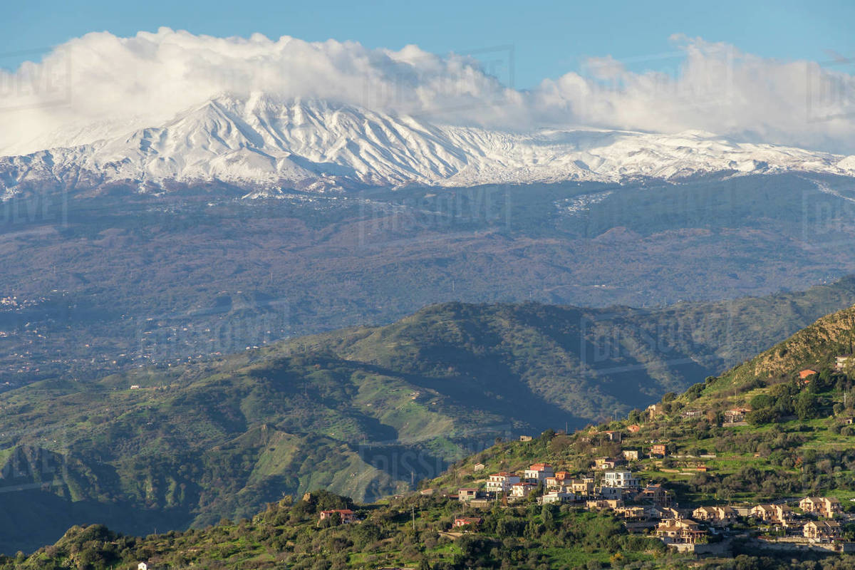 View from Madonna della Rocca church to Mount Etna, Taormina, Sicily, Italy, Europe Royalty-free stock photo