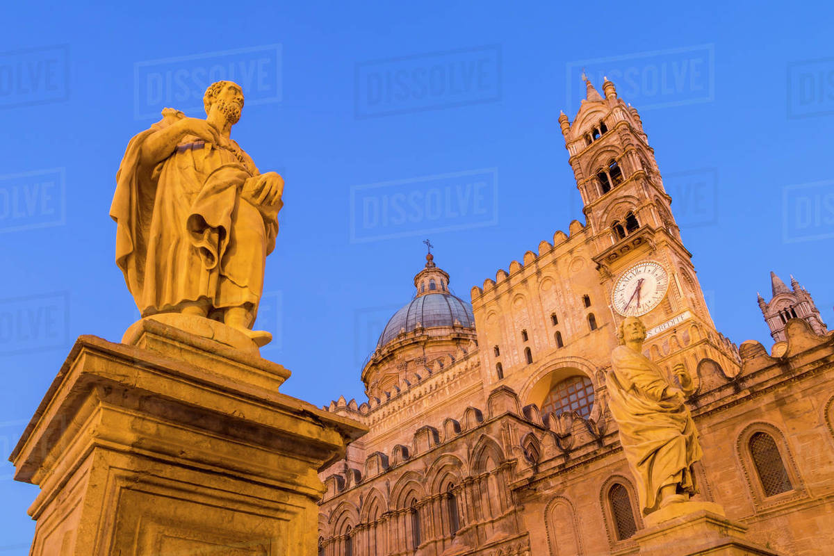 Palermo Cathedral at dawn, UNESCO World Heritage Site, Palermo, Sicily, Italy, Europe Royalty-free stock photo