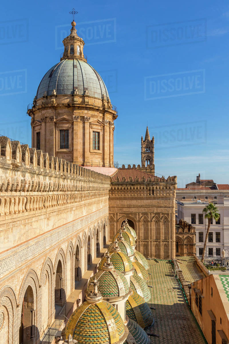 Cupola of the Palermo Cathedral, UNESCO World Heritage Site, seen from the rooftop, Palermo, Sicily, Italy, Europe Royalty-free stock photo