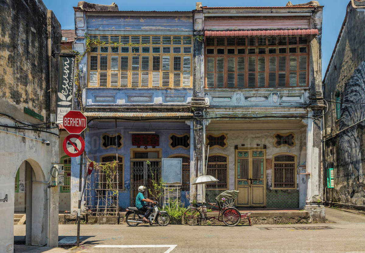 Local Chinese architecture in George Town, Penang Island, Malaysia, Southeast Asia, Asia Royalty-free stock photo