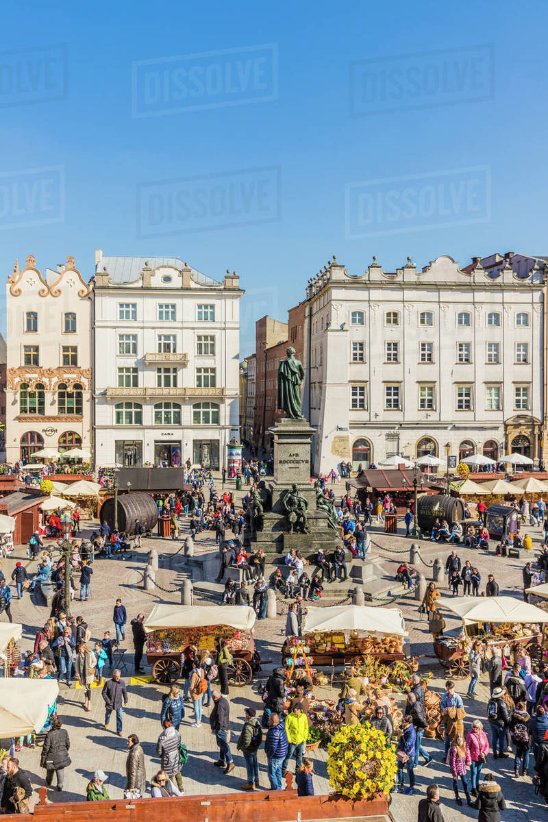 The main square, Rynek Glowny, in the medieval old town, UNESCO World Heritage Site, Krakow, Poland, Europe Rights-managed stock photo