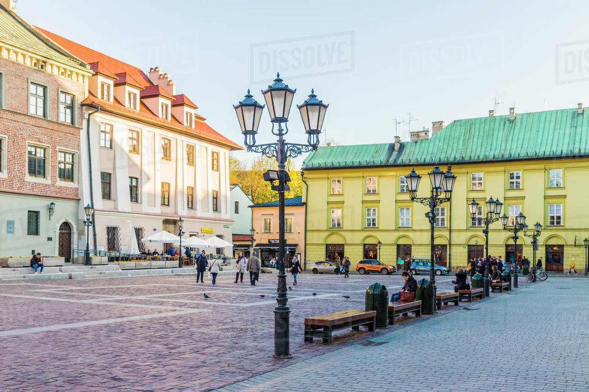 Little Market Square (Maly Rynek) in the medieval old town, UNESCO World Heritage Site, Krakow, Poland, Europe Rights-managed stock photo