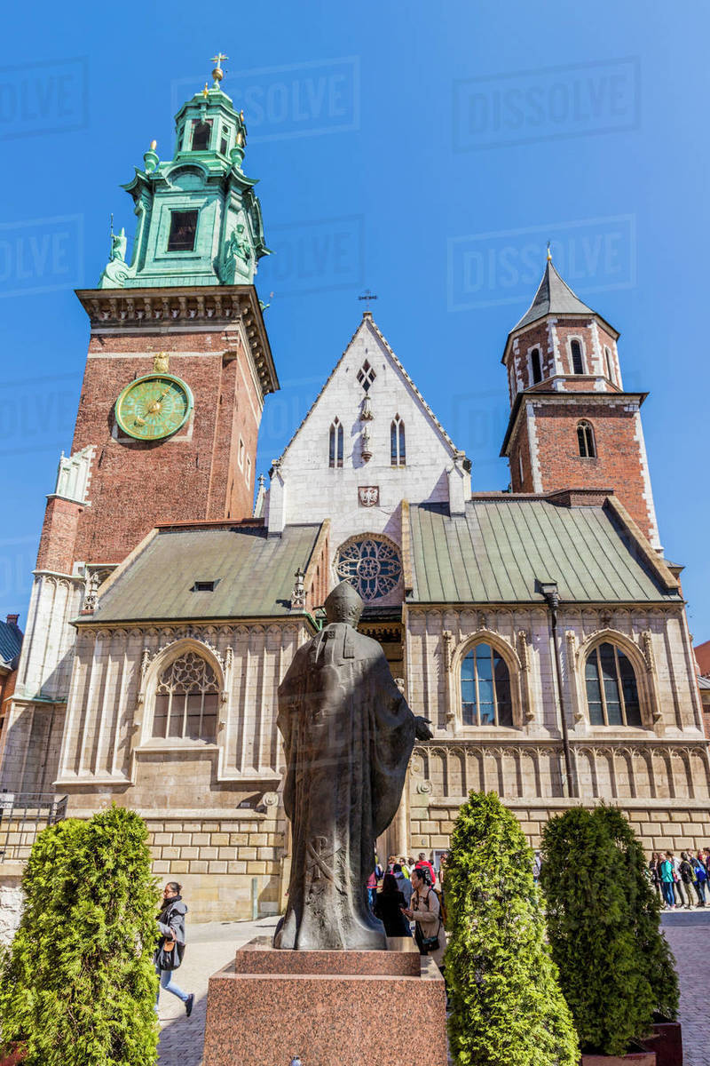 Statue of John Paul II at Wawel Royal Castle, UNESCO World Heritage Site, in the medieval old town, in Krakow, Poland, Europe Rights-managed stock photo