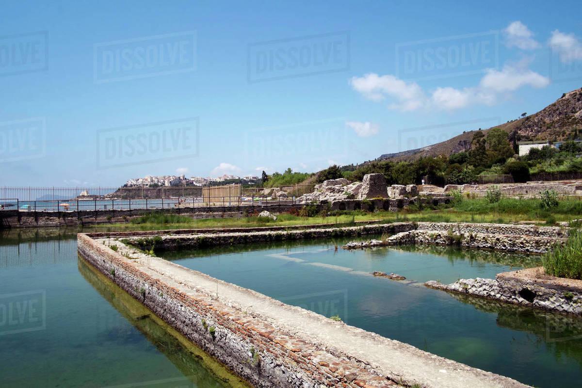 The ancient Roman Tiberius fish farm, Sperlonga, Lazio, Italy, Europe Royalty-free stock photo