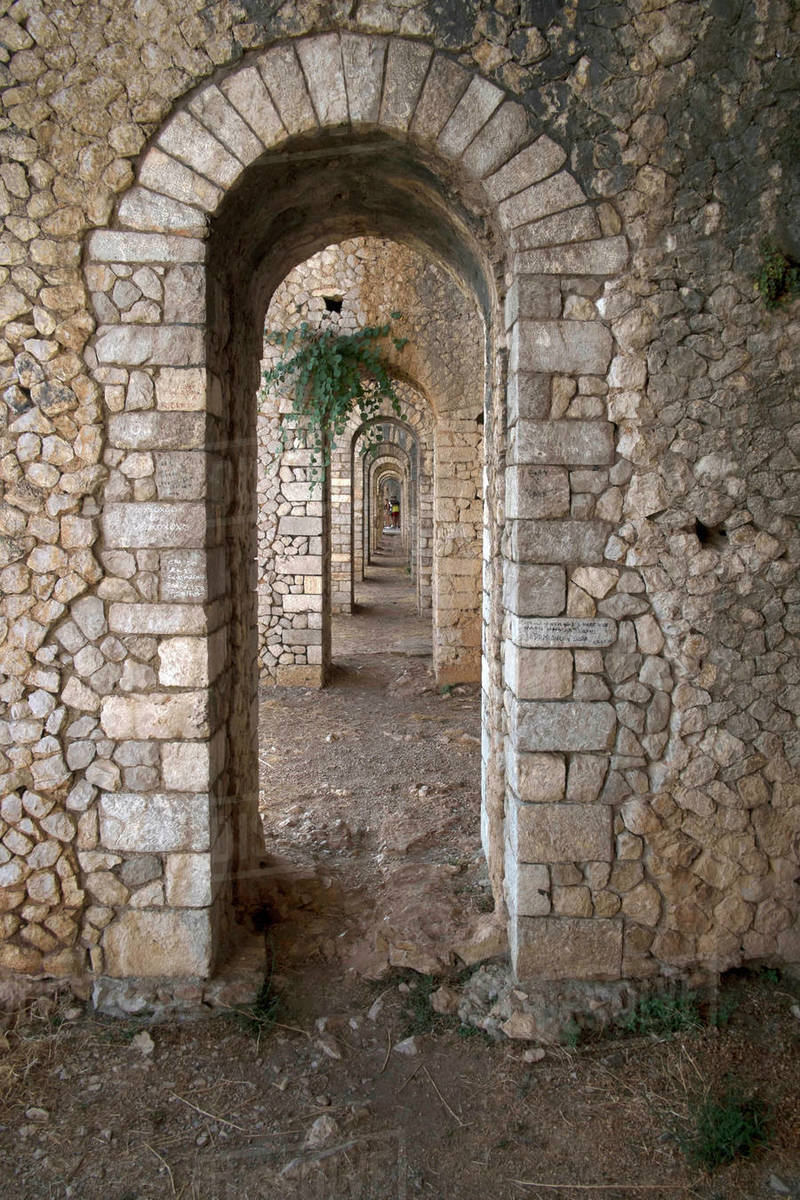 Basement arcades of the Temple of Anxur dedicated to the god Jupiter, 1st century AD, Terracina, Lazio, Italy, Europe Royalty-free stock photo