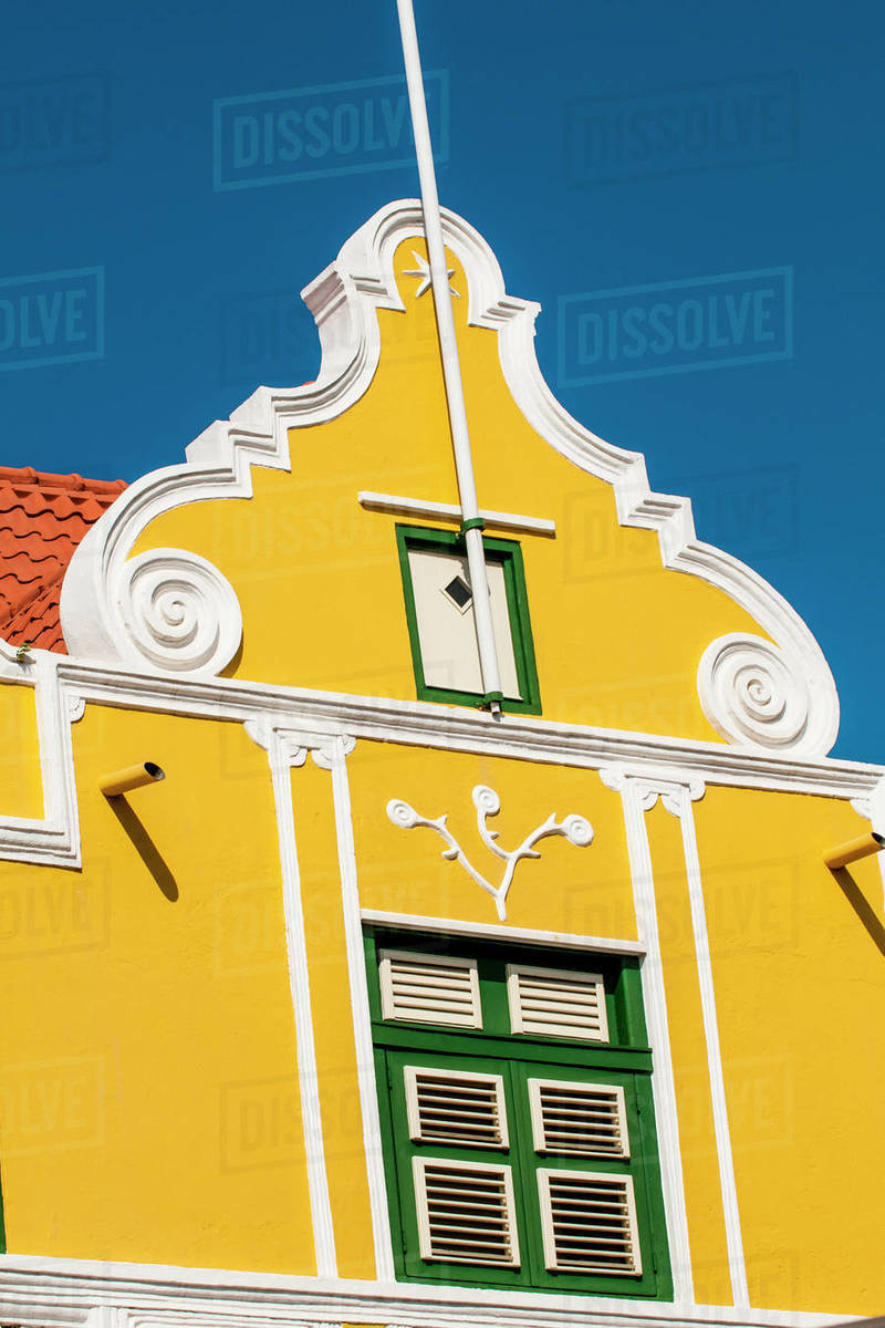 Colourful buildings, architecture in capital city Willemstad, UNESCO World Heritage Site, Curacao, ABC Islands, Dutch Antilles, Caribbean, Central America Royalty-free stock photo