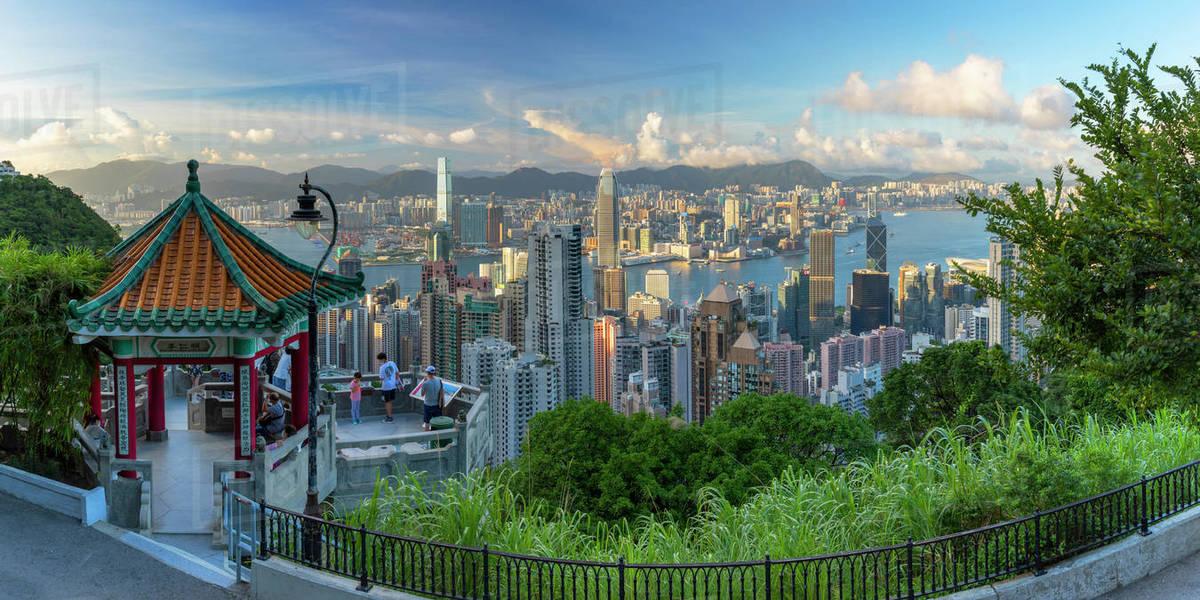 Lion Pavilion on Victoria Peak and skyline, Hong Kong, China, Asia Royalty-free stock photo