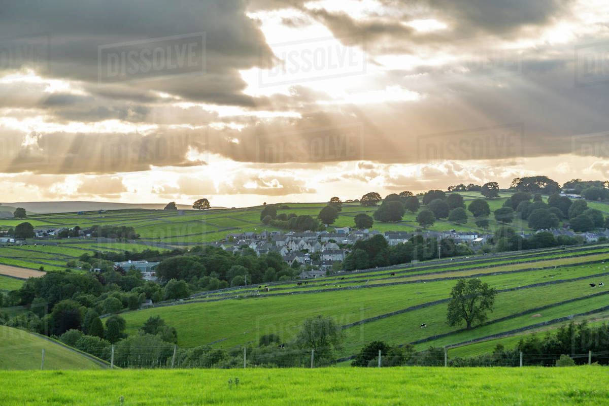 View of Tideswell and countryside near Litton, Peak District National Park, Derbyshire, England, United Kingdom, Europe Royalty-free stock photo