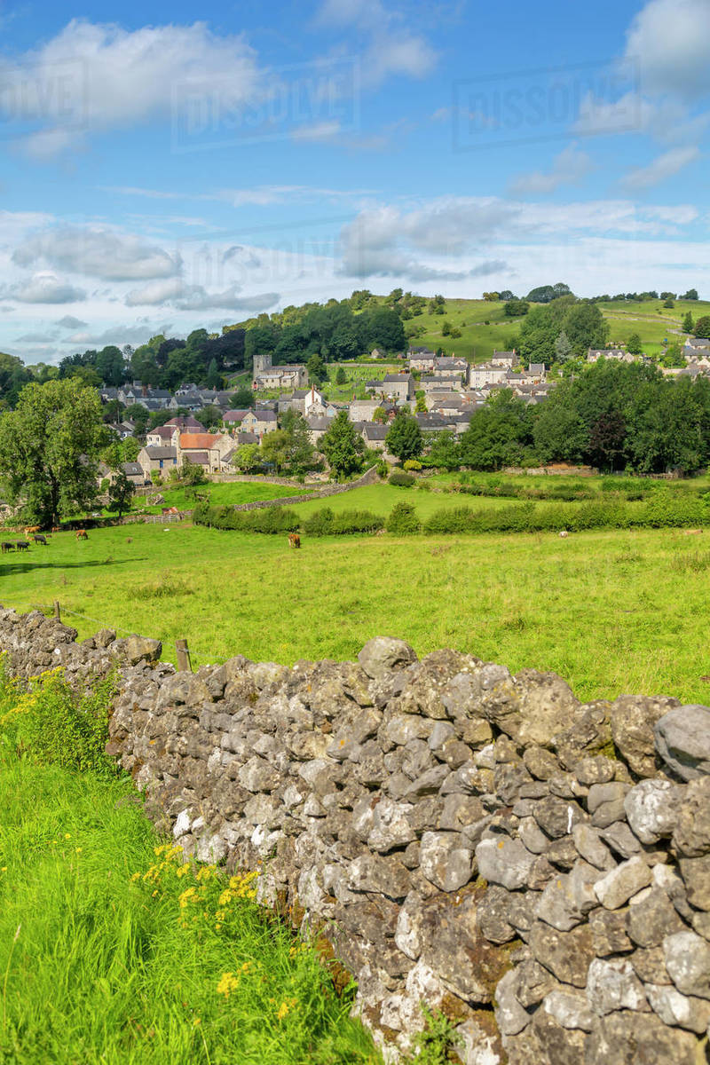 View of dry stone walls and Brassington, Derbyshire Dales, Derbyshire, England, United Kingdom, Europe Royalty-free stock photo