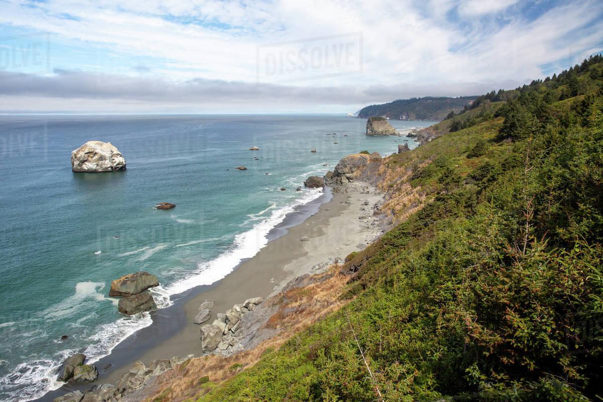 The rugged coastline along Highway 101 near Klamath, California, United States of America, North America Royalty-free stock photo