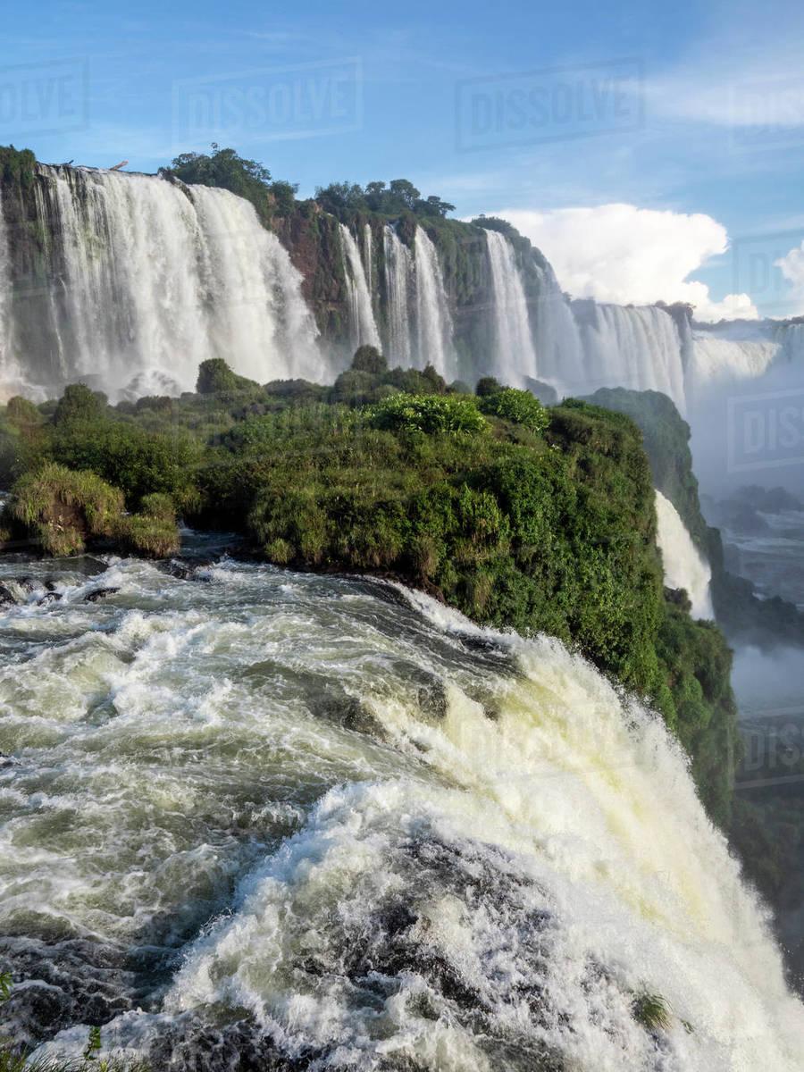View of Iguacu Falls (Cataratas do Iguacu), UNESCO World Heritage Site, from the Brazilian side, Parana, Brazil, South America Royalty-free stock photo