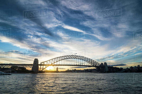 Sydney harbour bridge at sunset, Sydney, New South Wales, Australia, Pacific Royalty-free stock photo