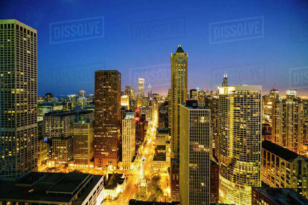 City skyline by night, Chicago, Illinois, United States of America, North America Royalty-free stock photo