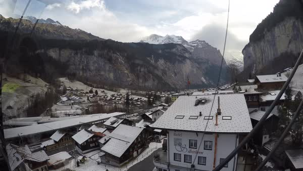 Cable Car from Lauterbrunnen to Murren, Jungfrau region, Bernese Oberland, Swiss Alps, Switzerland, Europe Royalty-free stock video
