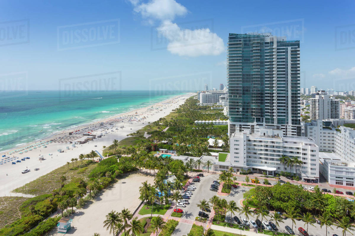 Elevated View Of Beach And Hotels In South Miami Florida United States America North