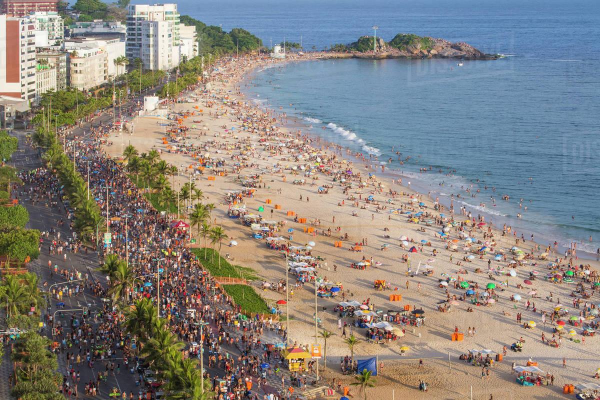 ipanema beach street carnival rio de janeiro brazil south