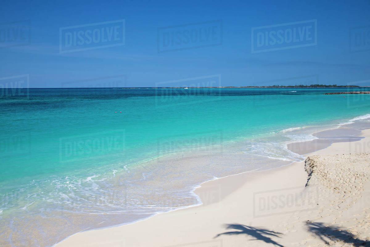 Shadow Of Palm Treees On Cabbage Beach Paradise Island Nau Bahamas West Ins Caribbean Central America