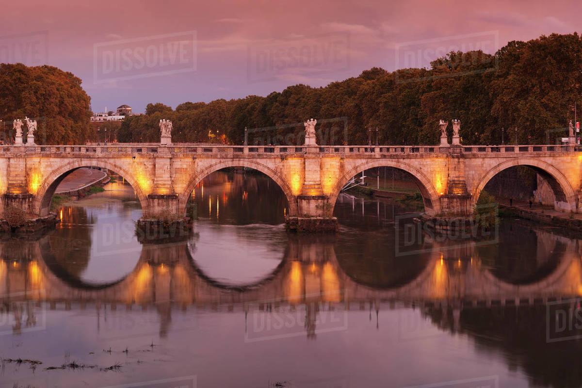 Ponte Sant Angelo Bridge Reflected In Tiber River At Sunset Rome D246 72 269