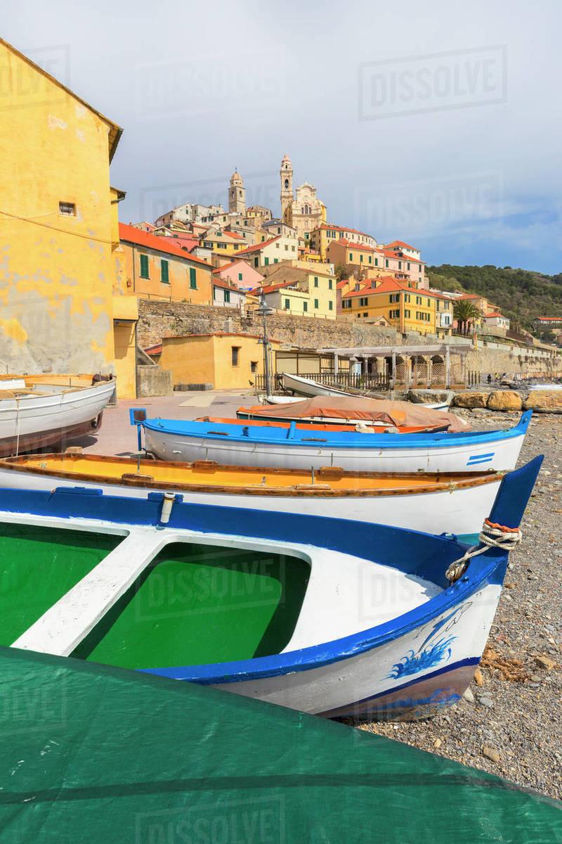 Colourful Boats On The Beach Of Cervo Imperia Province Liguria Italy Europe