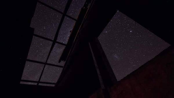 Night sky with stars through window timelapse Royalty-free stock video