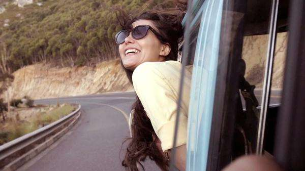 Girl leaning out of car window Royalty-free stock video