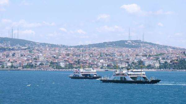 ISTANBUL - JUL 2: (Timelapse View) Maiden Tower stands against an Asian part of Istanbul and blue sky, on Jul 2, 2012 in Istanbul, Turkey Royalty-free stock video