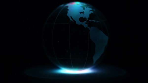 Transparent sphere with world map on it spins in color light at sphere spins with world map on it and ring of color illumination on dark background royalty sciox Choice Image