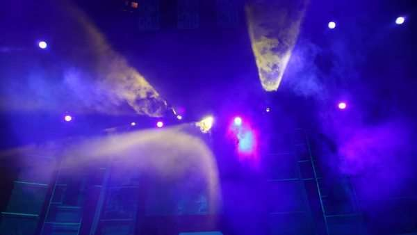 moving disco searchlights in smoke on stage of nightclub Royalty-free stock video