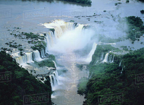 South America, Brazil, Argentina, Igwacu, Igwacu Falls, Igwazu, Igwazu Falls. Igwacu Falls thunder into the Igwacu River below. Royalty-free stock photo