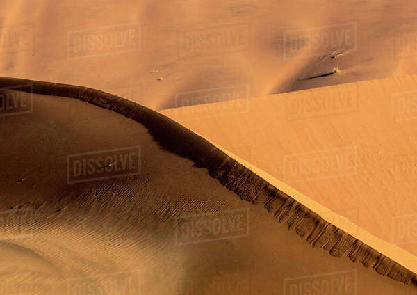 Africa, Namibia, Namib-Naukluft Park. Abstract of side-lit sand dunes. Royalty-free stock photo