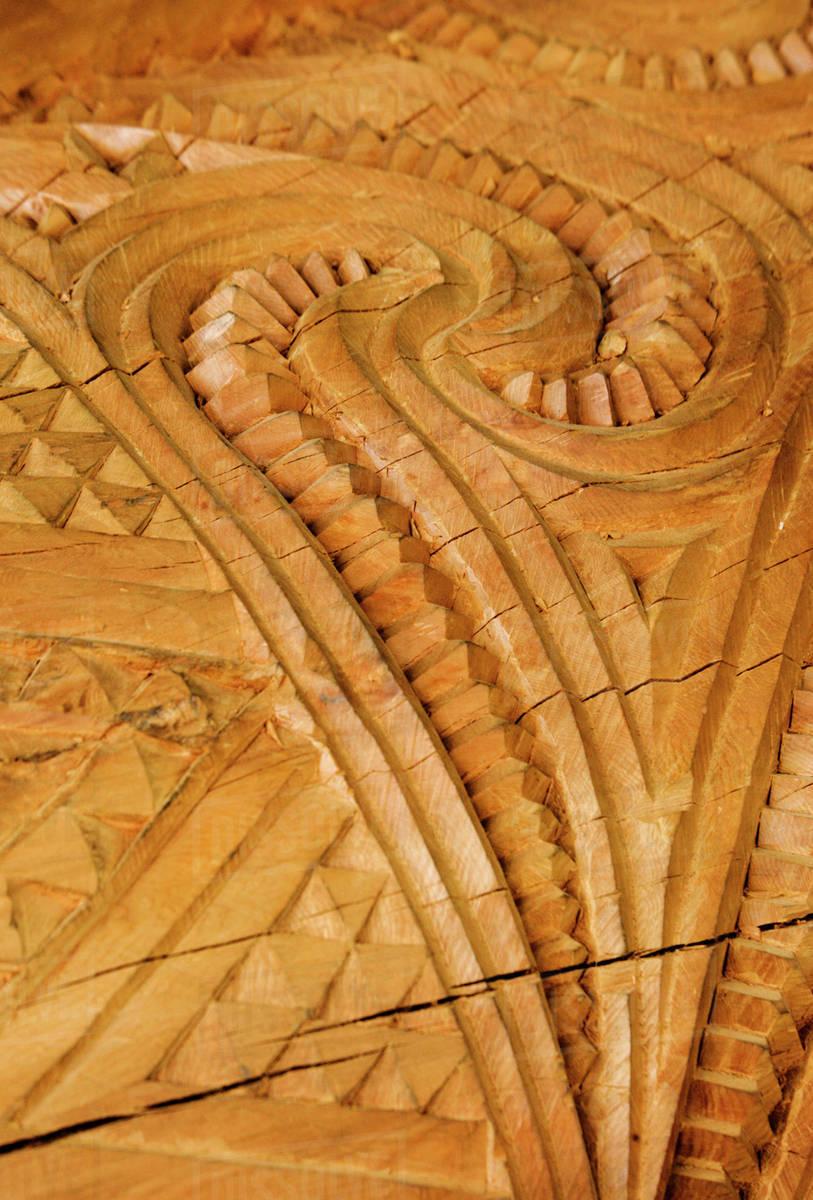 New zealand rotorua. close up of maori wood carving patterns